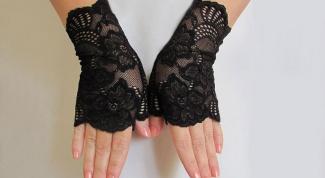 С чем носить черные ажурные перчатки