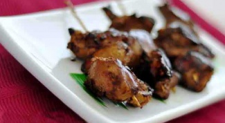 Chicken liver. Unusual kebabs
