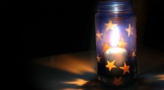 Как сделать светящуюся банку со звёздами