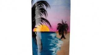 Как нарисовать красивый пляж с пальмами на ногтях самой