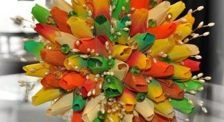 Как сделать тюльпан для конфетного букета