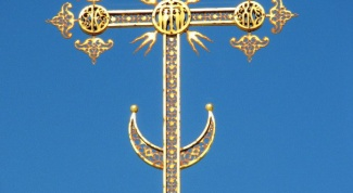What does the Crescent on the crosses of churches