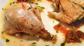 Куриное фрикасе с уксусом и зеленью