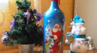 Как сделать новогодний декупаж бутылки своими руками