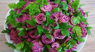 Салат «селедка под шубой с букетом роз»