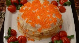 Как приготовить блинный торт с семгой
