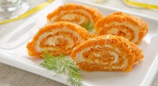 Пикантный рулет из моркови