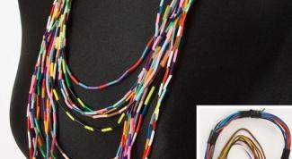 Как сделать бусы из разноцветного кабеля