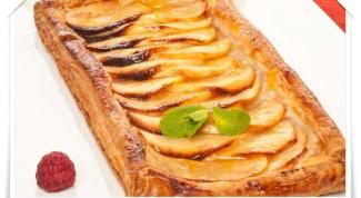 Слоеный яблочный пирог с заварным кремом