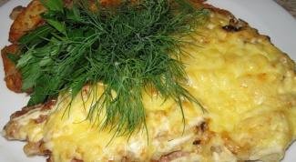 Язычок свиной, запеченный с анчоусами и сыром