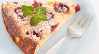 Творожный пирог с вишней без муки