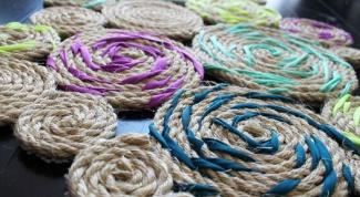 Как сделать коврик из бечевки