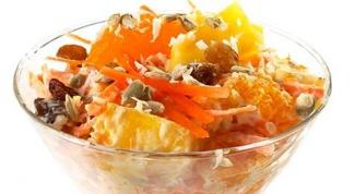 Сладкий салат из моркови с орехом и апельсинами