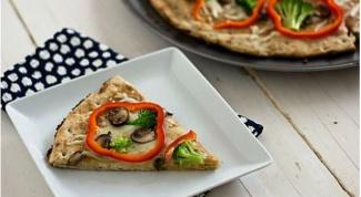 Тайская пицца с брокколи, грибами и красным перцем