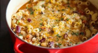 Как приготовить густой суп с фасолью и макаронами