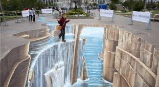Как рисуют трехмерные рисунки на асфальте