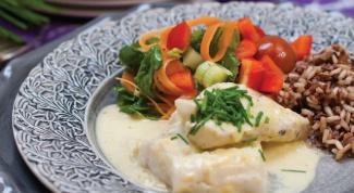 Филе трески в горчичном соусе с рисом
