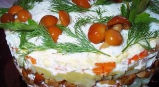 Салат из телятины с опятами