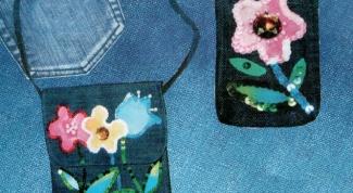 Как украсить джинсовую сумку и чехол для телефона