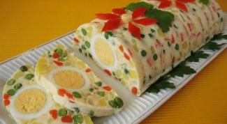 Праздничный салат желе с овощами, ветчиной и яйцом