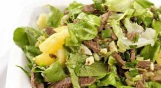 Мясной салат с зеленью