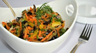 Овощной салат с жареными баклажанами