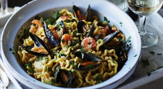 Паста с морепродуктами и шафраном