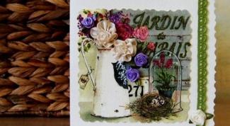Как сделать открытку своими руками с цветами из шелковых лент