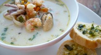Сливочный суп из морепродуктов