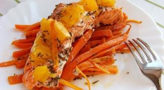 Форель с апельсинами на морковной подушке