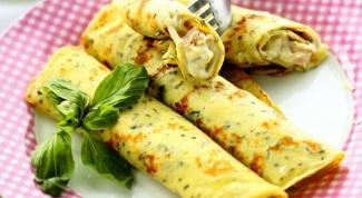 Блинчики с ветчиной, сыром и базиликом