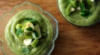 Зеленый пудинг с киви, авокадо и лаймом