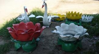 Как сделать клумбу из покрышки в виде цветка