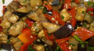 Hot salad with eggplant