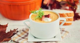 Сливочный суп из тыквы с беконом