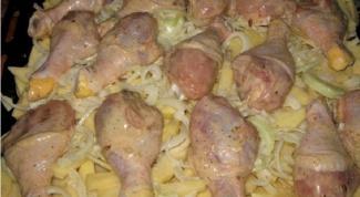 Курица на сводной подушке с сырными плюшками