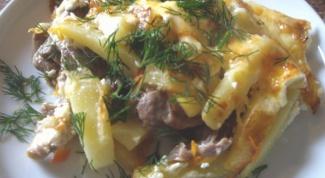 Запеканка картофельная с куриными желудочками