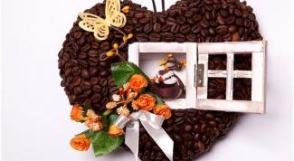 Поделки из кофейных зерен. Кофейное сердце своими руками.
