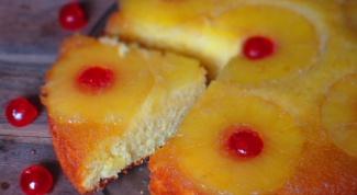 Перевернутый пирог с ананасами и карамелью