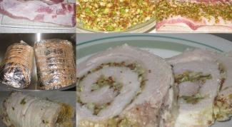 Свиной рулет с луком и горчицей