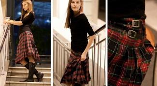 С чем носить юбку-шотландку классического покроя