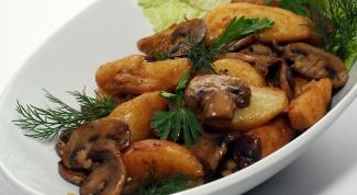 Картофель в вине, запеченный с грибами
