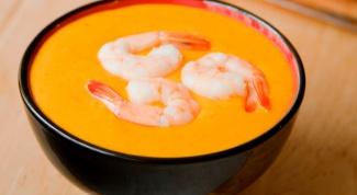 Тыквенный суп-пюре с креветками