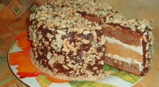 Домашний воздушный торт «Сникерс»