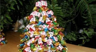 Новогодняя елка из лент в стиле артишок своими руками