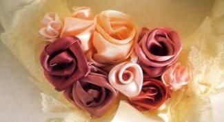 Как сделать розу из шелковой ткани