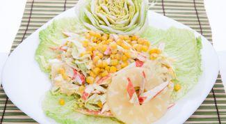 Рецепт приготовления азиатского салата: крабовые палочки и китайская капуста