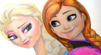 """Как нарисовать Эльзу и Анну из """"Холодного сердца"""""""