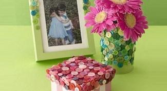 Шкатулка и рамка для фото из пуговиц
