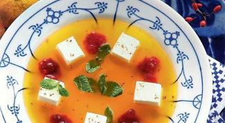 Мандариновый суп с суфле из йогурта и белого шоколада